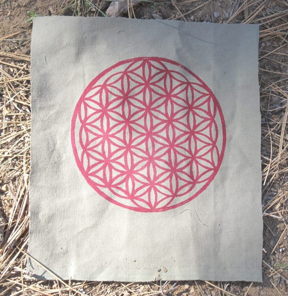 Large Flower of Life Patch - Red on Green-Grey Canvas