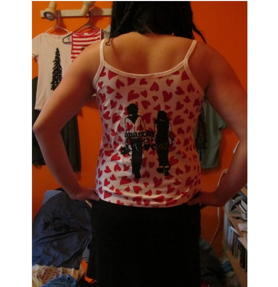 Anarchy is for Lovers, Large, White Spaghetti Strap Tank Top witn Hearts, Screenprint, Ridiculous