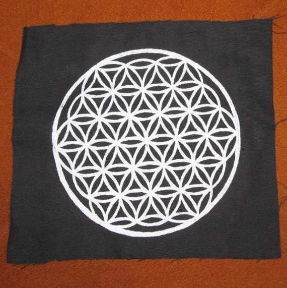 Large  - Flower of Life Patch - White Ink on Black Canvas - Large Punk Patch - pagan, nature, occult patches, sacred geometry, back patch