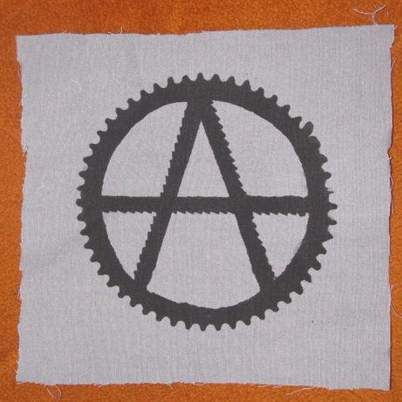 Back Patch - Anarchy Symbol, with Saw Blades and Bike Sprocket - Large for Back or Bag, Black on Grey Canvas Anarchy Punk Patch