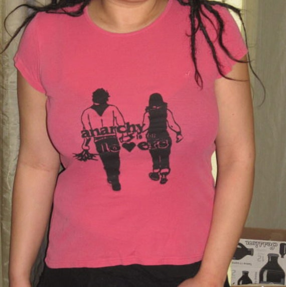 Anarchy is for Lovers, Large, Black on Pink Fitted Women's Style T Shirt Top, with Screenprint Print