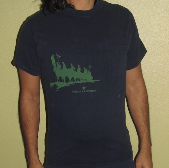 Tierra y Libertad T Shirt, Unisex or Mens Small, Green Ink on Navy Blue - land and liberty, defenders on horseback print, pocket tee, dark