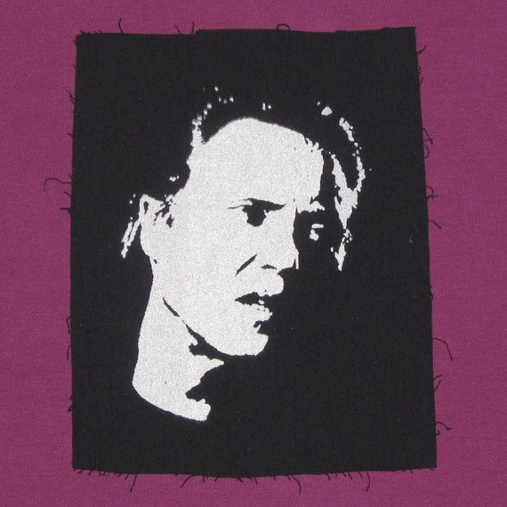 Christopher Walken patch - White on Black Canvas - sillhouette actor movie tv film awesome weird punk patch