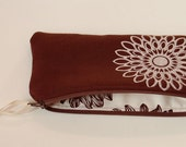 Organic Zip Pouch in Chocolate Brown.