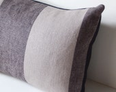 """12"""" x 16"""" Gray LInen Two Tone Wide Stripes Pillow Cover with Black Organic Cotton Back"""