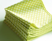 Set of 12 Cocktail Napkins in Lime Open Circle Organic Cotton