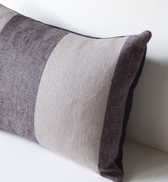 "12"" x 16"" Gray LInen Two Tone Wide Stripes Pillow Cover with Black Organic Cotton Back"