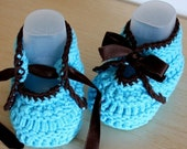 Knitting Pattern (PDF file) -  Baby Shoes with Ribbon