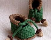 knitting pattern (pdf file) - Acorn Baby Booties (0-6/6-12 months)
