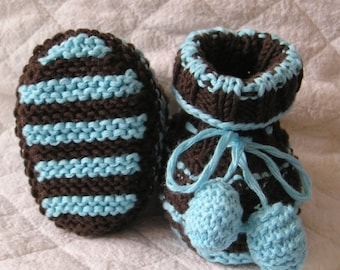 Knitting pattern (pdf file) - Baby Booties with Pom Pom Cotton (size 0-3/ 3-6/ 6-12 months)