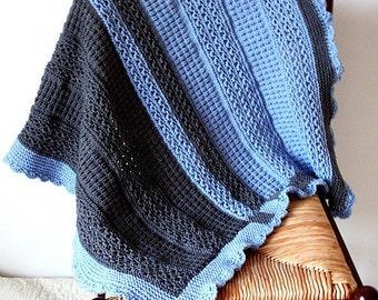 Knitting Pattern (pdf file) Baby Blanket Blue & Grey