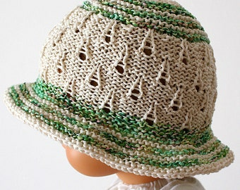 Knitting Pattern (PDF file) Summer Meadow Baby Hat (0-3/3-6/6-12/12-24 months)