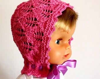 Knitting Patterns (pdf file) Rosa Leaf Baby Bonnet (sizes 0-3/3-6 months)