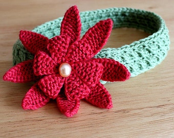 Knitting Pattern (pdf file) Pearl Flower/Headband/Brooch