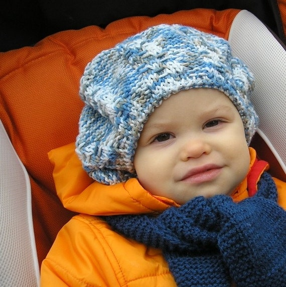 Knitting PATTERN - Baby BERET Colour mixed (size 18 inc and 20 inc)