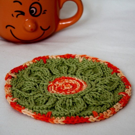 Knitting Pattern (PDF file) Coaster Leaves