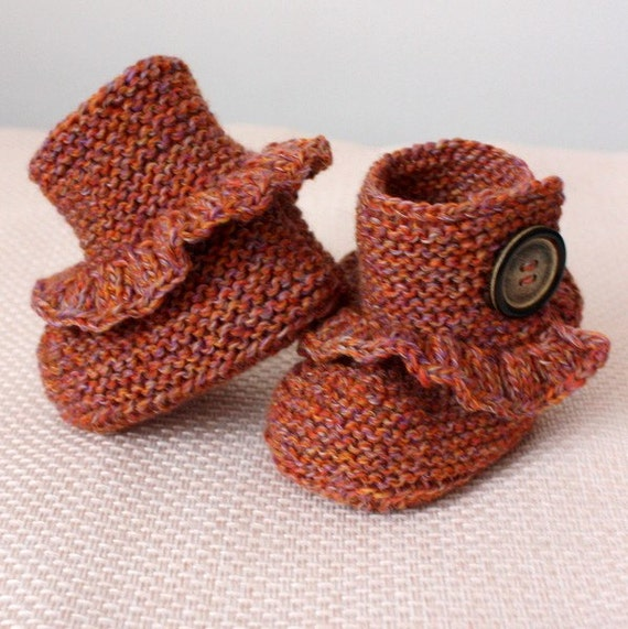 Knitting Pattern (pdf file) First Step Baby Booties (sizes 0-6/6-12 months)
