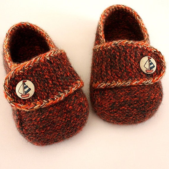 Knitting Pattern PDF file Felted Shoes sizes