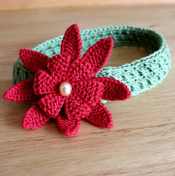 Knitting Pattern (pdf file) Pearl Flower/Headband/Brooch