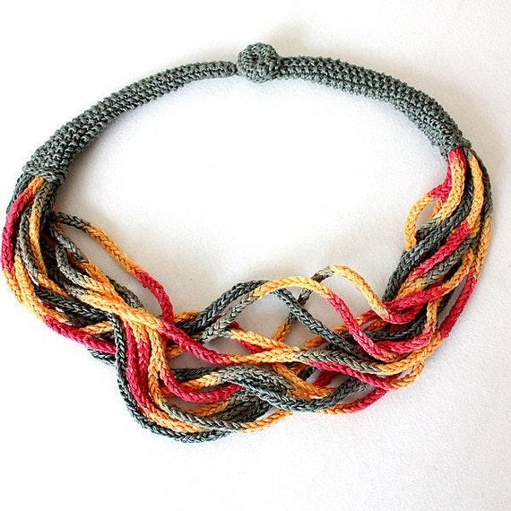 Knitting Jewelry Patterns : Knitting pattern pdf file necklace sunshine accessory