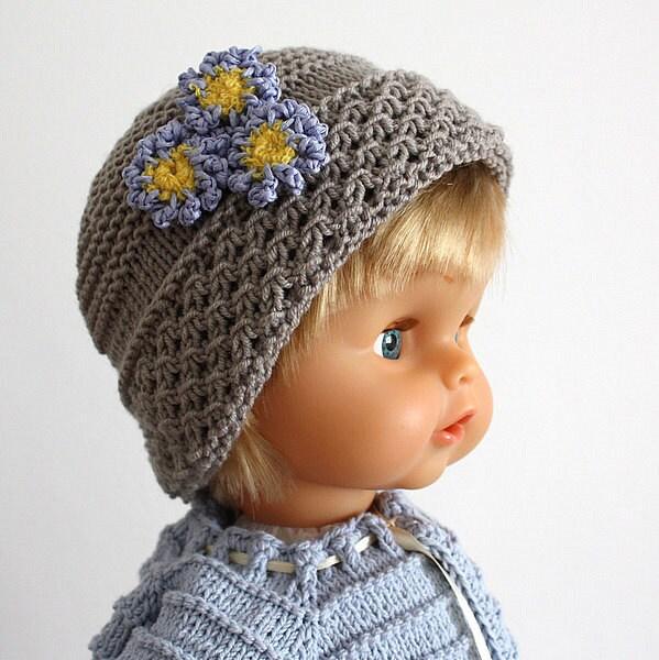 Knitting Patterns (pdf file) Forget-Me-Not baby Hat (sizes 0-3/3-6/6-12/12-24...