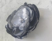 Grey Satin Ombre Flower Brooch