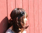 fabric flower headband - black