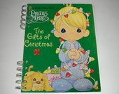 Precious Moments Christmas - Handmade Journal with recycled paper and vintage Little Golden Book