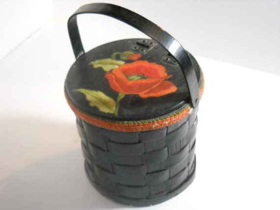Tole Painted Black Basket Purse