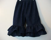 Double Ruffle Pants in Dark Denim, Girls Denim Ruffle Pants, Girls Clothing, Toddler Girls Pants, Sizes 12MO,18MO,24MO,2T,3T,4T,5T,6,7,8