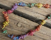 telephone wire necklace-rainbow with brown