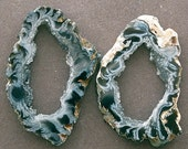 two AGATE GEODE SLICEs, designer, lapidary, wirewrap, jewelry
