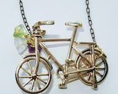 Gold and Brass Bicycle Charm Necklace with Flower Detail - CloudNineDesignz
