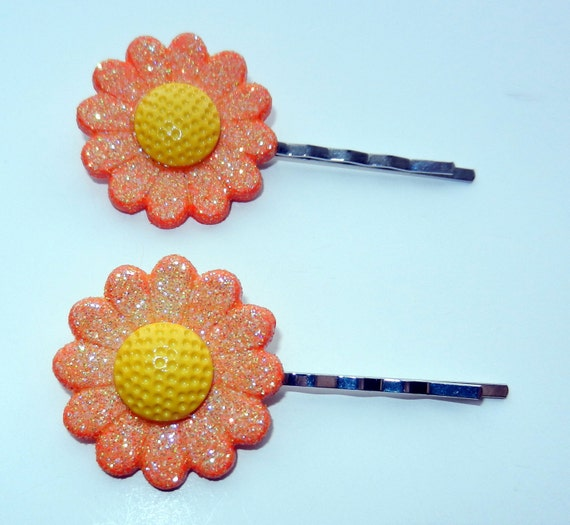 Set of Orange and Yellow Gerber Daisy Hair Pins