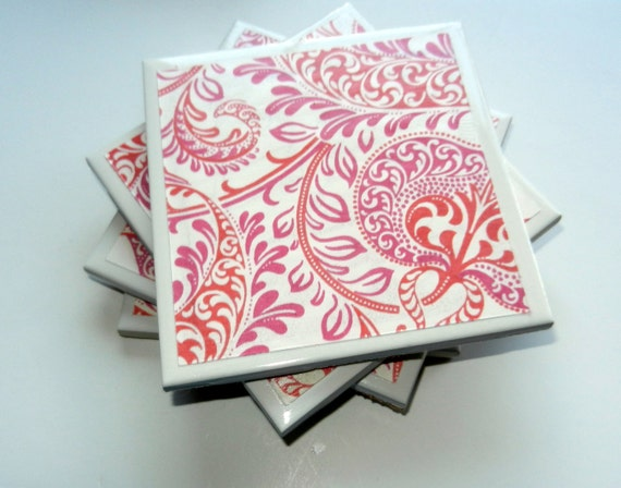 Christmas in July - CIJ - Coral and Pink Floral Coasters (Set of 4)