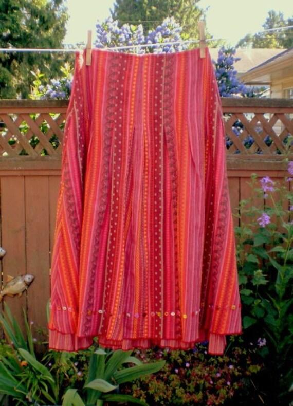 SALE Vintage GYPSY Skirt Hippy Ethnic Cotton Boho Tangerine from MyGypsyCottage on Etsy