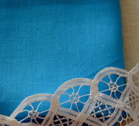 Pure LINEN Turquoise Blue ecofriendly European fabric sewing crafts home decor Fat Quarter from MyGypsyCottage on Etsy