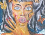 The Monarch Laday on Recycled Cardboard Original Oil Pastel Drawing