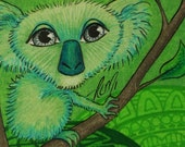 "ALMI Art - Little Koala ACEO - Original Drawing in Colored Pencil - NEW Print 2.5""x3.5"" bird illustration green yellow"