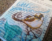 "ALMI Art - Little Sparrow ACEO - vintage 1920s book page - Original Drawing - NEW 2.5""x3.5"" cat bird illustration"