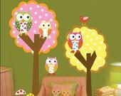 2 Colorful Polka Dot Trees- Owls-Birds Vinyl Wall Sticker Art Design