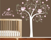 Swirl Tree Leaves Flowers Birds Owls  Custom Name Vinyl Wall Decal Sticker