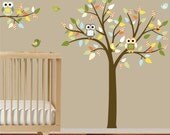 Childrens Wall Decals Tree Decal Wall Stickers Pattern Leaf Tree with Owls Birds