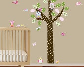 Wall decal tree with pattern leaves,owls and birds nursery vinyl decal