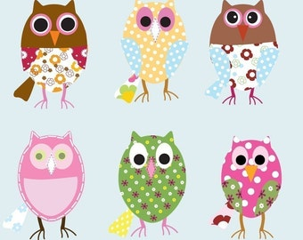 Vinyl Wall Decal Stickers--OWLS--Girls--Baby--Nursery