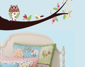 Vinyl Wall Sticker Decal Owls Birds on a branch pattern leaves