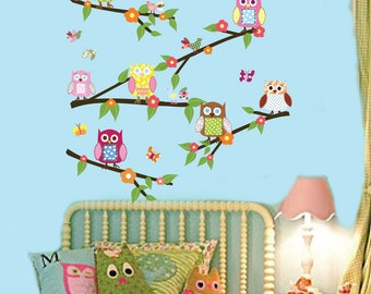 Vinyl Wall Sticker Decal - Owls- Birds - Butterflies Branch Set