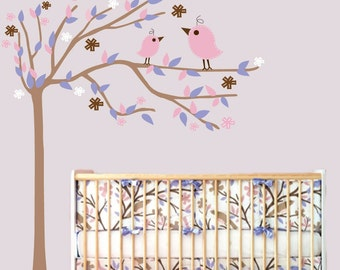Nursery Baby Vinyl Wall Decal  Flower Tree with Birds