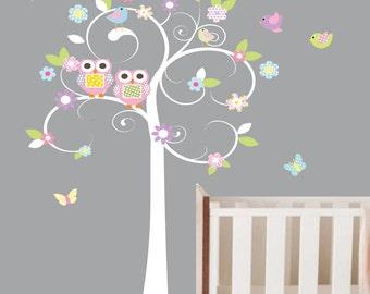White Swirl Tree with Flowers Owls Birds Vinyl Wall Decal Nursery Girl