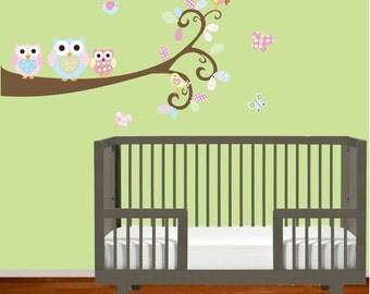 Nursery Vinyl Wall Decal Swirl Branch with Heart Pattern Owls Birds